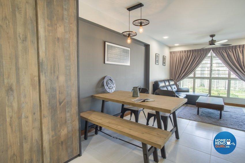 Industrial Design - Living Room - HDB 4 Room - Design by Starry Homestead Pte Ltd