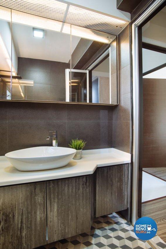 Industrial Design - Bathroom - HDB 4 Room - Design by Starry Homestead Pte Ltd