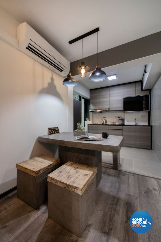 Industrial Design - Dining Room - HDB 3 Room - Design by Starry Homestead Pte Ltd