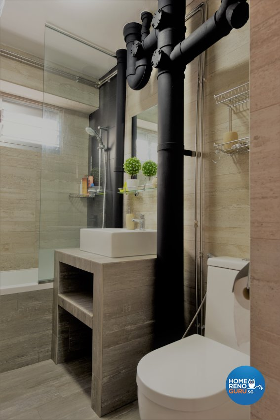 Industrial, Minimalist Design - Bathroom - HDB 5 Room - Design by Starry Homestead Pte Ltd