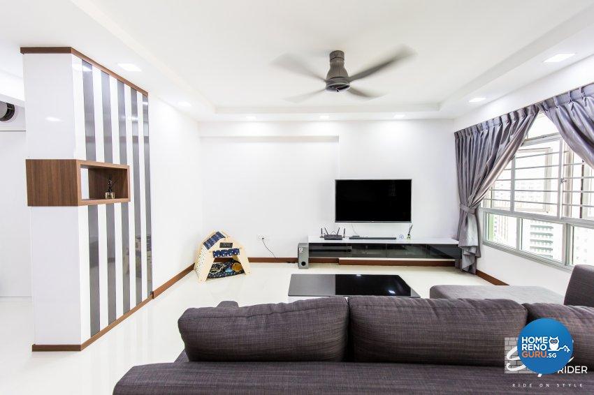 Eclectic, Modern Design - Living Room - HDB 5 Room - Design by Stylerider Pte Ltd