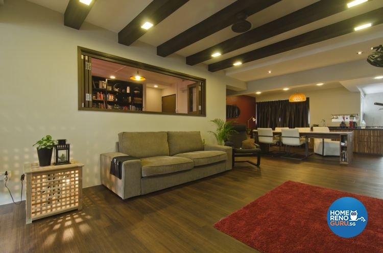 Country, Mediterranean Design - Living Room - HDB 5 Room - Design by Summit Design Studio