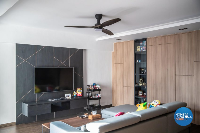 Contemporary, Modern Design - Living Room - HDB 5 Room - Design by Swiss Interior Design Pte Ltd