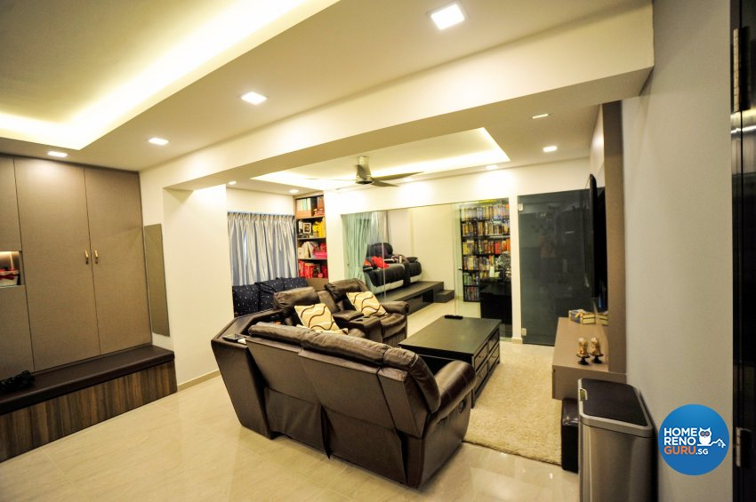 Contemporary Design - Living Room - HDB 5 Room - Design by Swiss Interior Design Pte Ltd