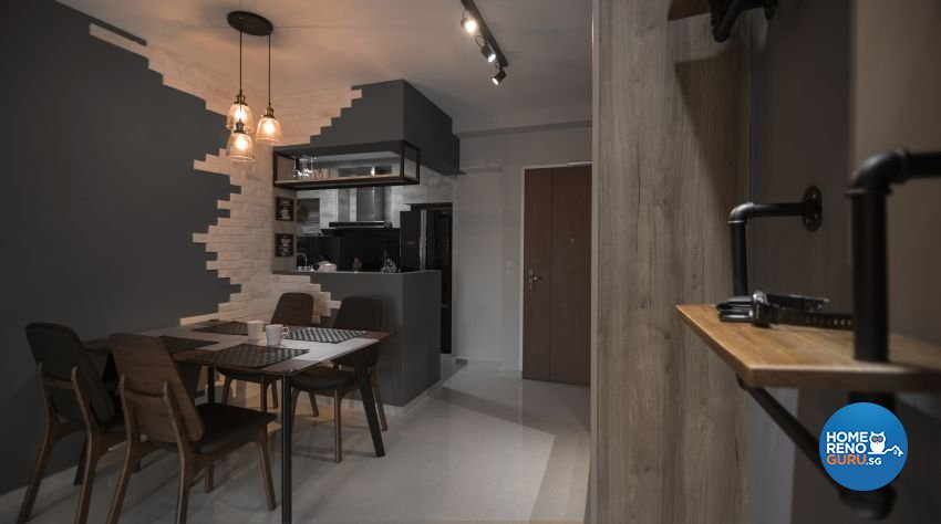 Industrial, Scandinavian Design - Dining Room - HDB 4 Room - Design by Swiss Interior Design Pte Ltd