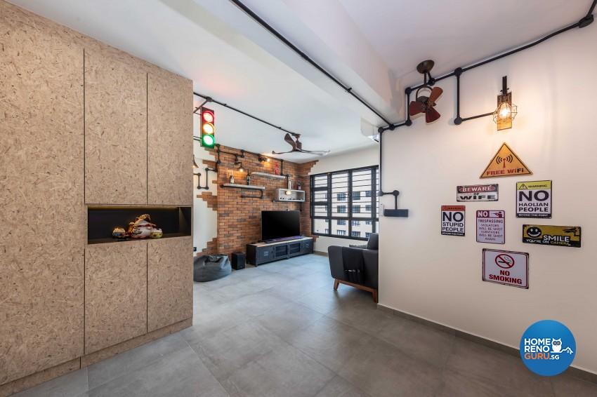 Industrial Design - Living Room - HDB 4 Room - Design by Swiss Interior Design Pte Ltd