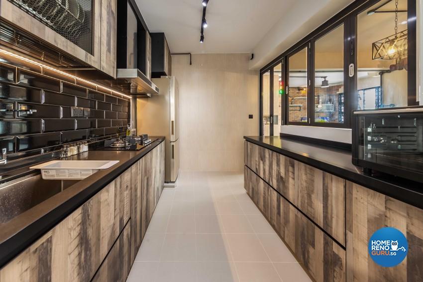 Industrial Design - Kitchen - HDB 4 Room - Design by Swiss Interior Design Pte Ltd