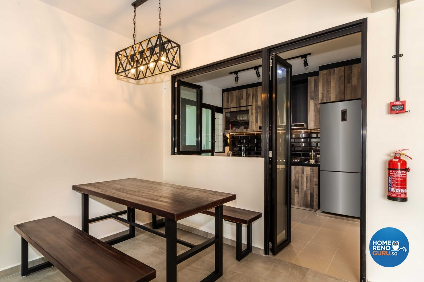 Industrial Design - Dining Room - HDB 4 Room - Design by Swiss Interior Design Pte Ltd