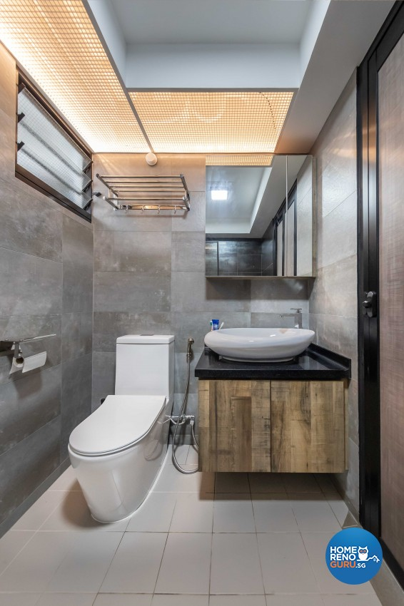 Industrial Design - Bathroom - HDB 4 Room - Design by Swiss Interior Design Pte Ltd