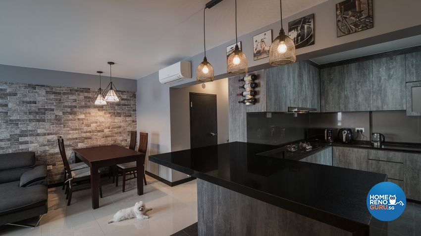 Industrial, Rustic Design - Kitchen - HDB 4 Room - Design by Swiss Interior Design Pte Ltd
