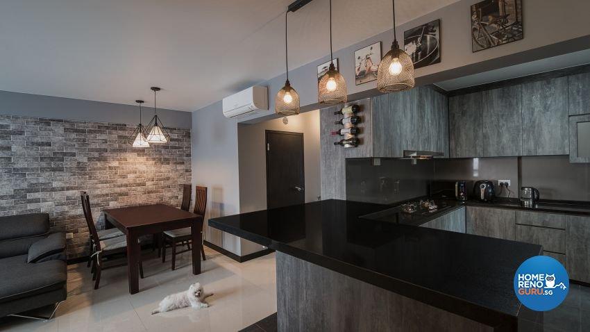Industrial, Rustic Design - Kitchen - HDB 4 Room - Design by Swiss Interior Design Pte Ltd