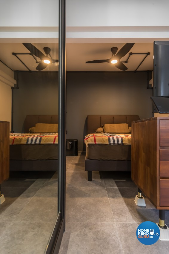 Industrial Design - Bedroom - HDB 3 Room - Design by Swiss Interior Design Pte Ltd