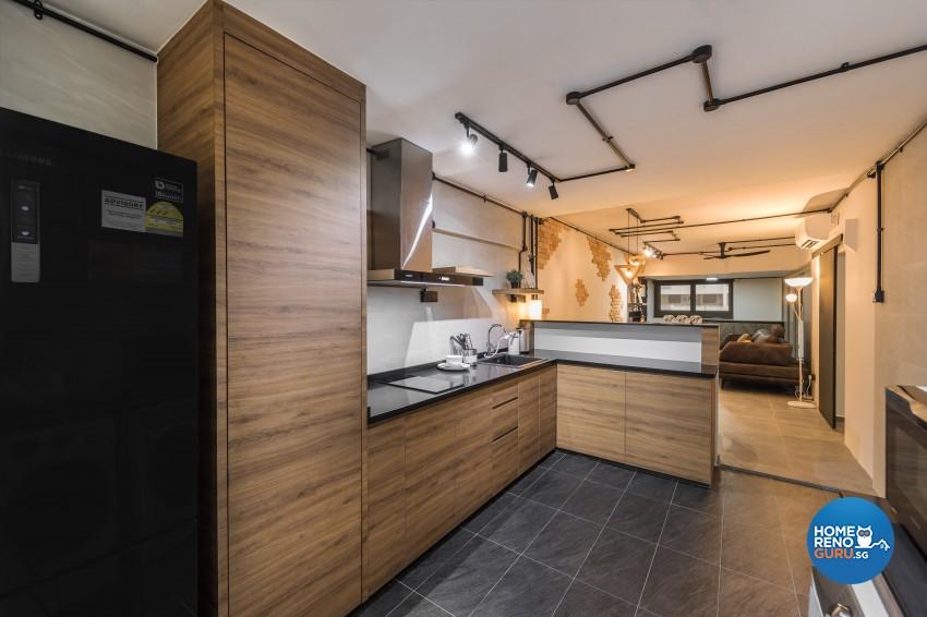 Industrial Design - Kitchen - HDB 3 Room - Design by Swiss Interior Design Pte Ltd