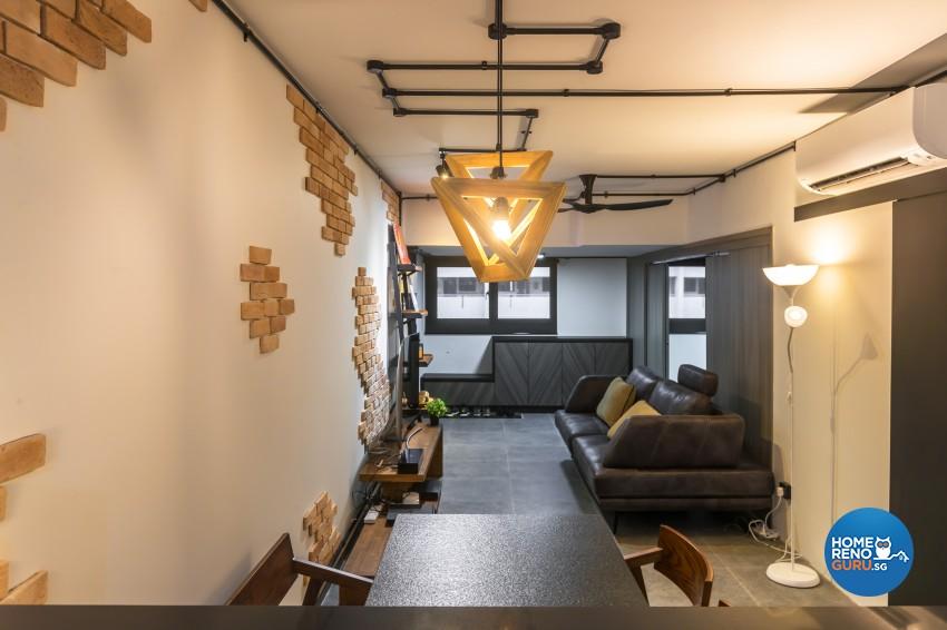 Industrial Design - Living Room - HDB 3 Room - Design by Swiss Interior Design Pte Ltd
