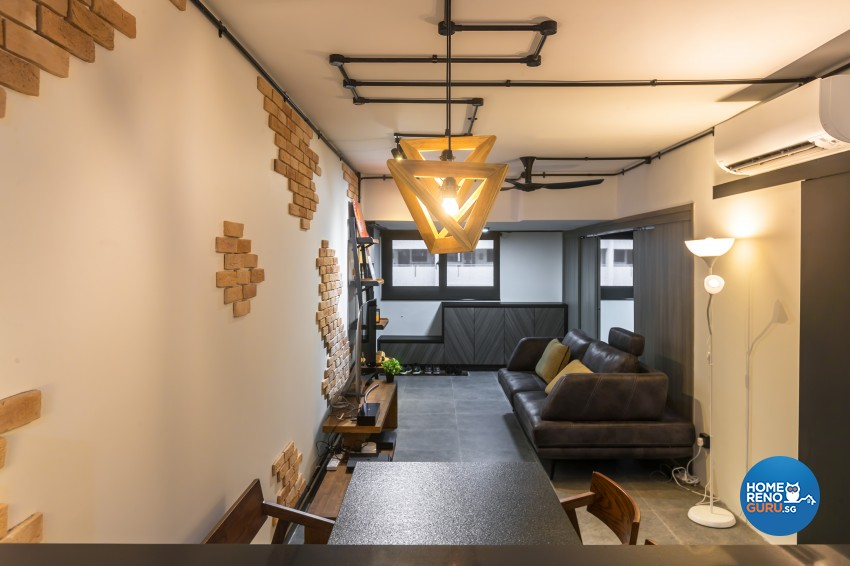 Industrial Design - Living Room - HDB 3 Room - Design by Swiss Interior Design Pte Ltd