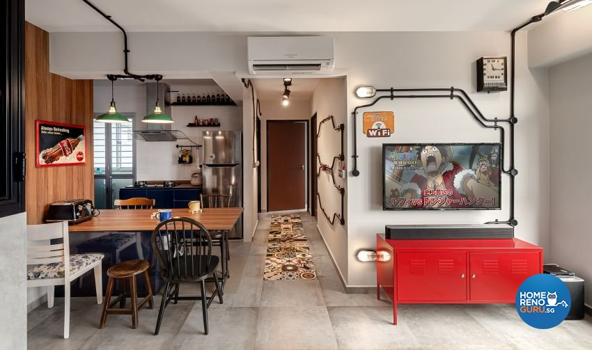 Industrial, Retro Design - Dining Room - HDB 3 Room - Design by Swiss Interior Design Pte Ltd