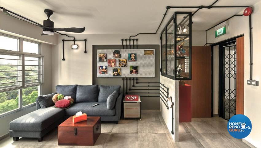 Industrial, Retro Design - Living Room - HDB 3 Room - Design by Swiss Interior Design Pte Ltd