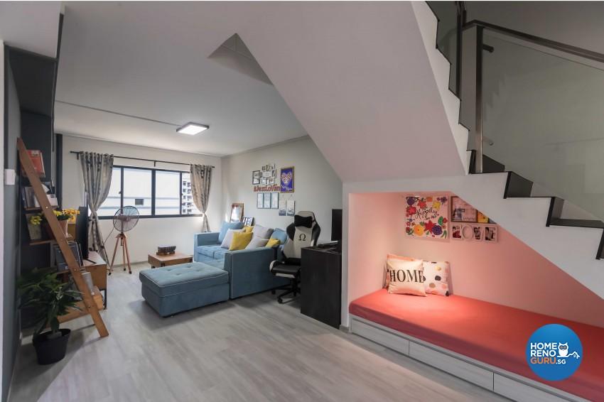 Rustic Design - Living Room - HDB Executive Apartment - Design by Swiss Interior Design Pte Ltd