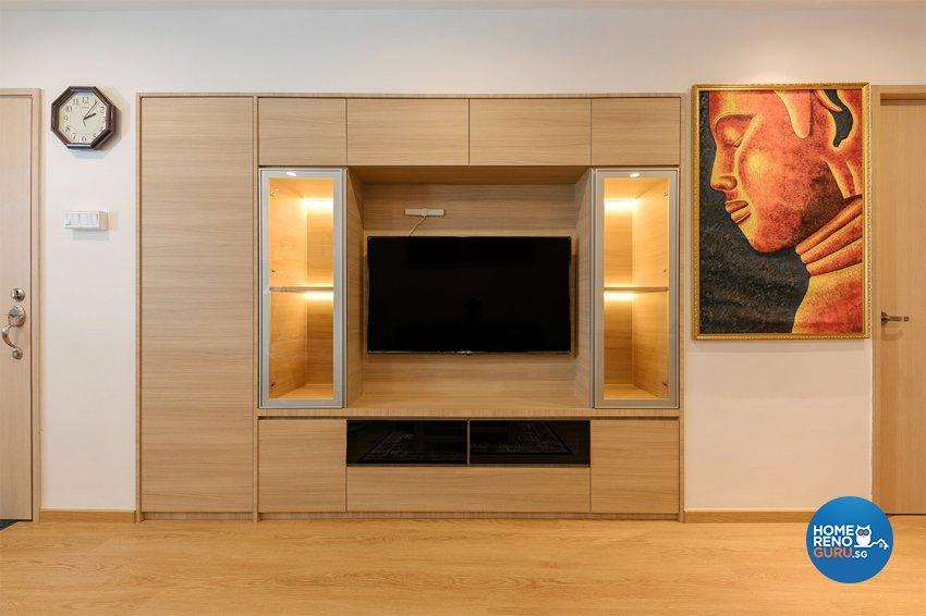 Retro Design - Living Room - HDB 4 Room - Design by Swiss Interior Design Pte Ltd