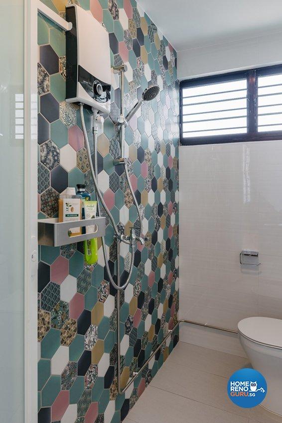 Retro Design - Bathroom - HDB 4 Room - Design by Swiss Interior Design Pte Ltd