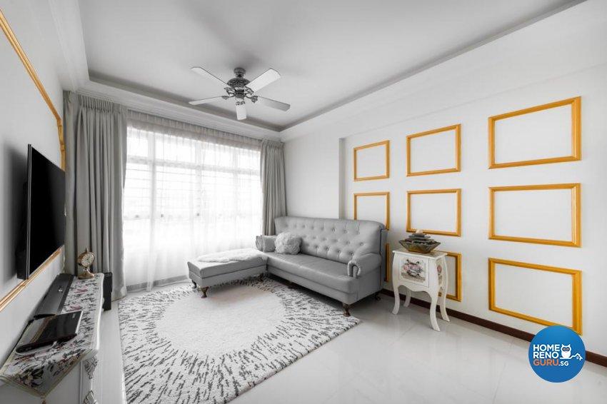 Victorian Design - Living Room - HDB 4 Room - Design by Swiss Interior Design Pte Ltd