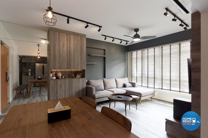 Industrial, Modern Design - Dining Room - HDB 4 Room - Design by Swiss Interior Design Pte Ltd