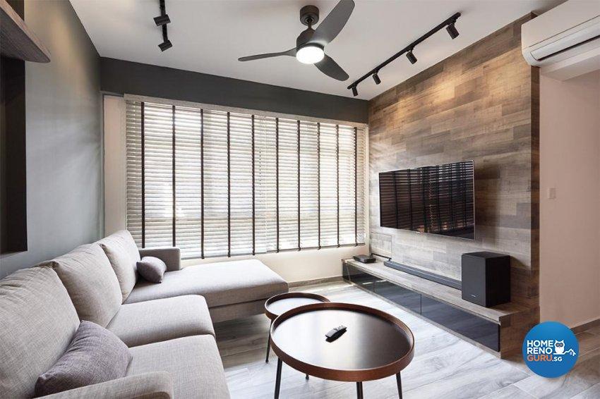 Industrial, Modern Design - Living Room - HDB 4 Room - Design by Swiss Interior Design Pte Ltd