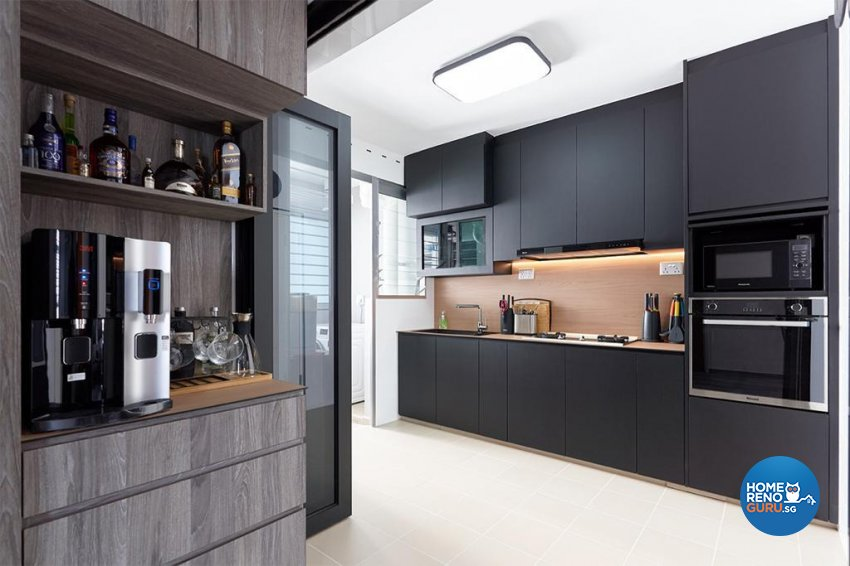 Industrial, Modern Design - Kitchen - HDB 4 Room - Design by Swiss Interior Design Pte Ltd