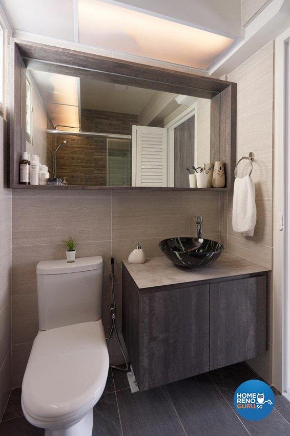 Industrial, Modern Design - Bathroom - HDB 4 Room - Design by Swiss Interior Design Pte Ltd