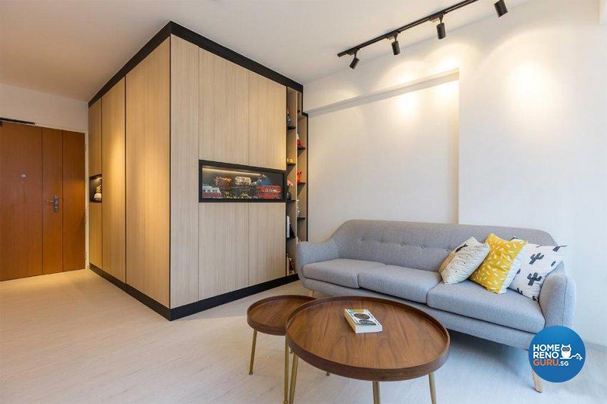 Contemporary Design - Living Room - HDB 4 Room - Design by Swiss Interior Design Pte Ltd