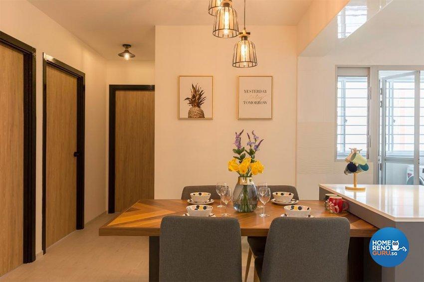 Contemporary Design - Dining Room - HDB 4 Room - Design by Swiss Interior Design Pte Ltd
