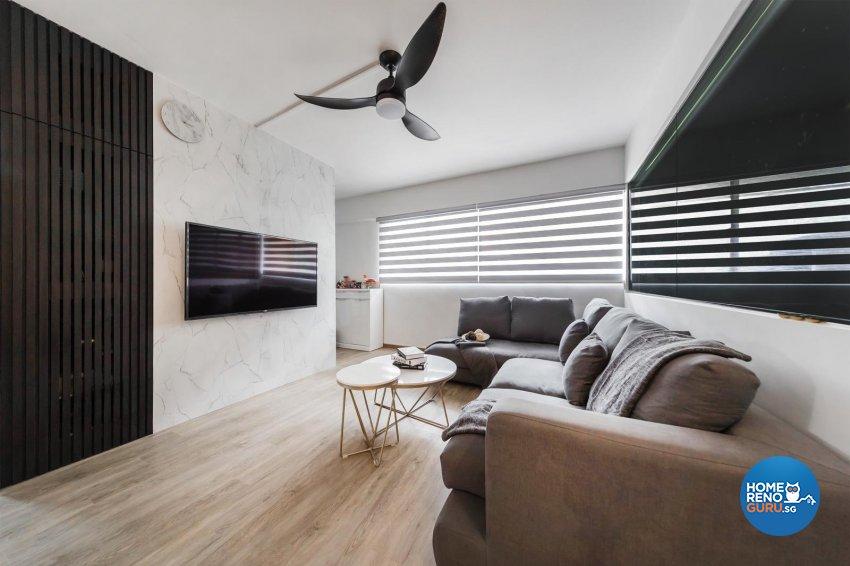 Contemporary, Modern Design - Living Room - HDB 4 Room - Design by Swiss Interior Design Pte Ltd