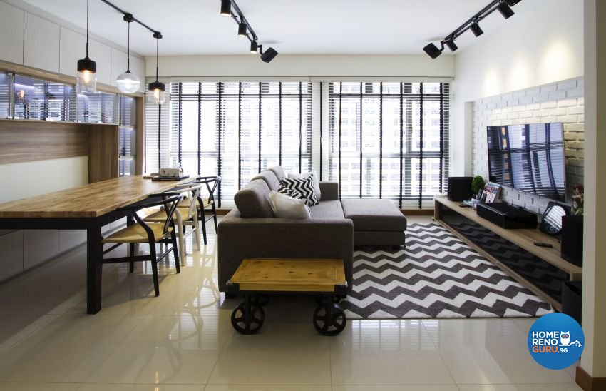 Industrial, Scandinavian Design - Living Room - HDB 5 Room - Design by Takeji Design Pte. Ltd.