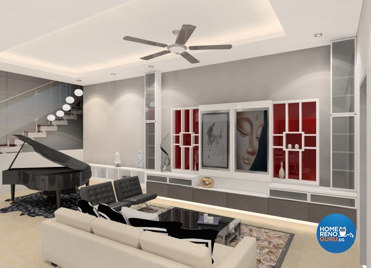 Contemporary, Eclectic Design - Living Room - Landed House - Design by The Creative Formation Pte Ltd