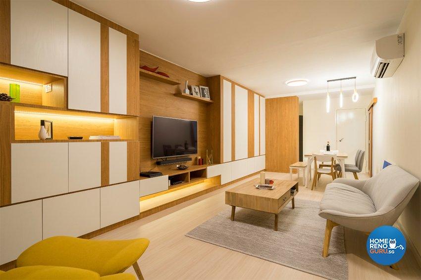 Minimalist, Modern Design - Living Room - HDB 4 Room - Design by The Interior Place Pte Ltd
