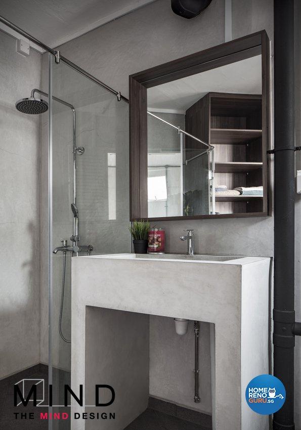 Industrial Design - Bathroom - HDB 3 Room - Design by The Mind Design Pte Ltd