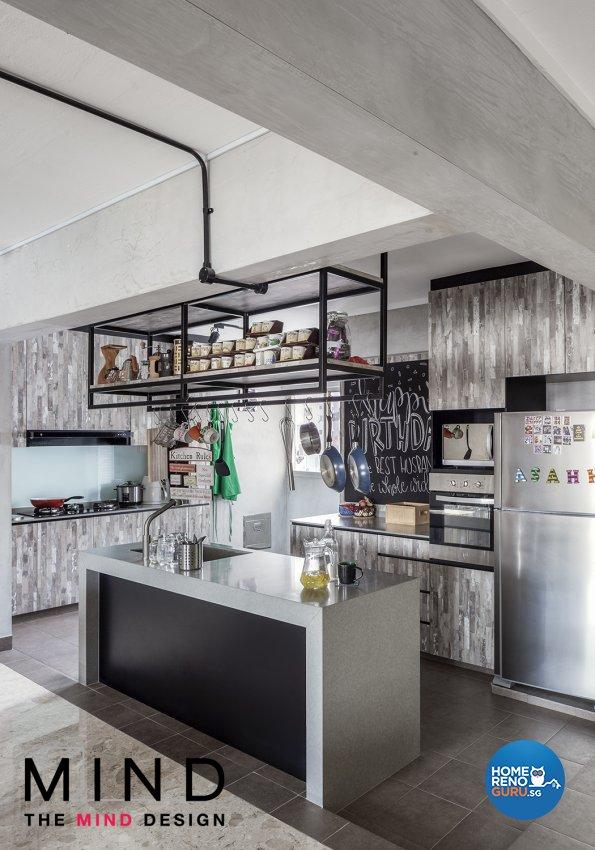 Industrial Design - Kitchen - HDB 3 Room - Design by The Mind Design Pte Ltd