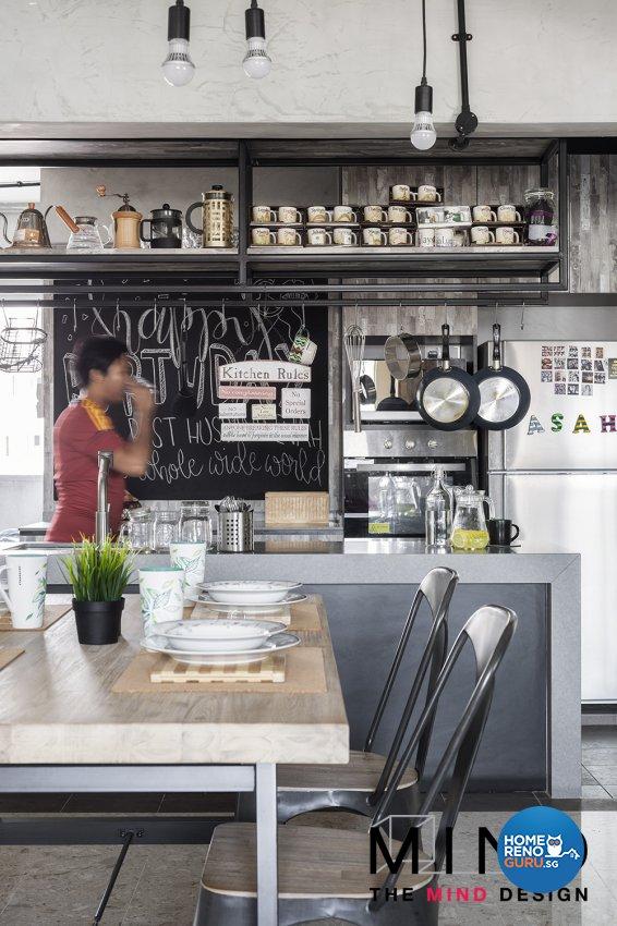 Industrial Design - Dining Room - HDB 3 Room - Design by The Mind Design Pte Ltd