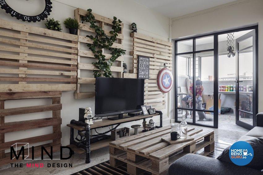 Industrial Design - Living Room - HDB 3 Room - Design by The Mind Design Pte Ltd