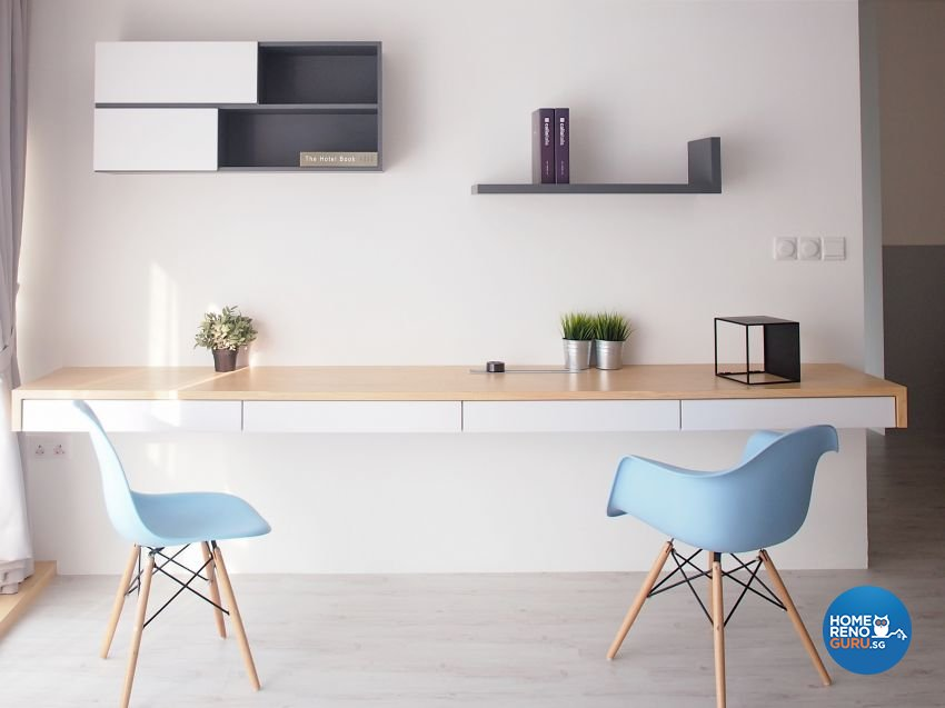Minimalist, Scandinavian Design - Study Room - HDB 5 Room - Design by The Minimalist Society Pte Ltd