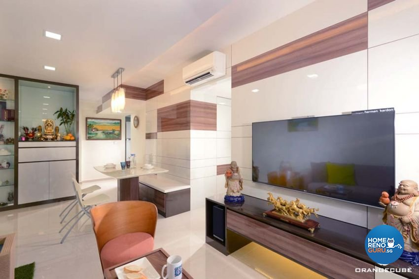 Contemporary, Modern Design - Living Room - HDB 4 Room - Design by The Orange Cube Pte Ltd