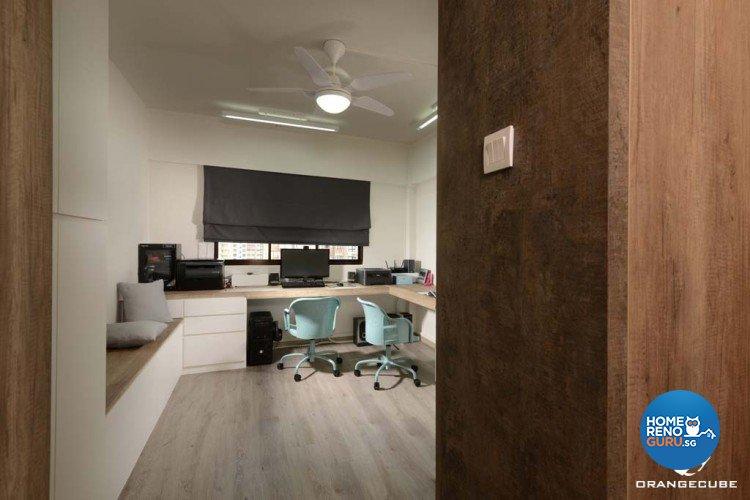 Minimalist, Scandinavian Design - Study Room - HDB 4 Room - Design by The Orange Cube Pte Ltd