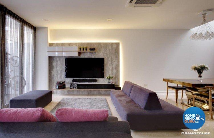 Contemporary, Modern Design - Living Room - Landed House - Design by The Orange Cube Pte Ltd