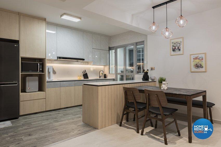 Minimalist, Modern, Scandinavian Design - Dining Room - HDB 3 Room - Design by TKB Contractor Pte Ltd