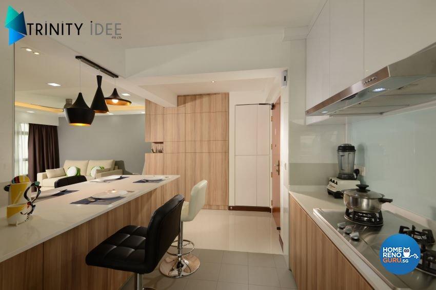 Contemporary Design - Kitchen - HDB 4 Room - Design by Trinity IDee Pte Ltd