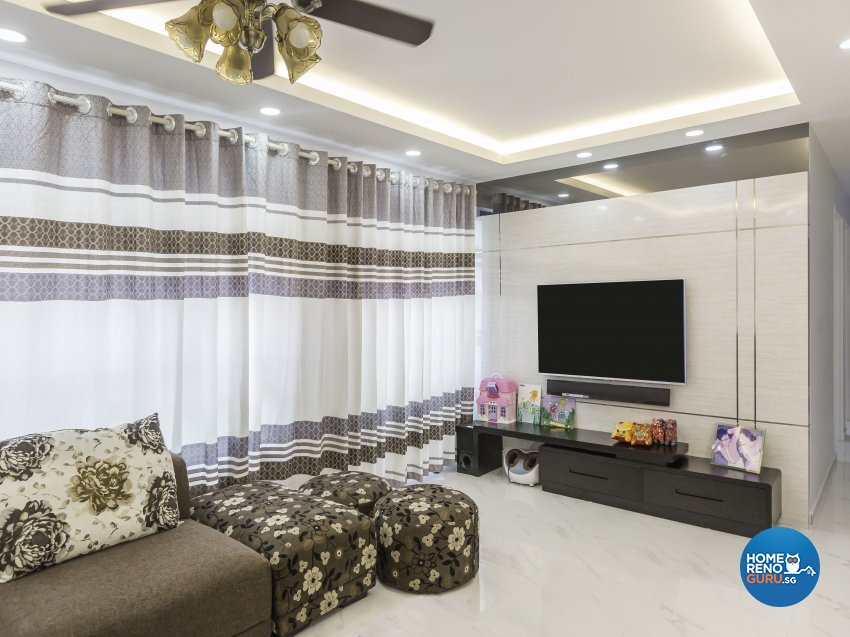 Tropical Design - Living Room - HDB 4 Room - Design by Trinity IDee Pte Ltd