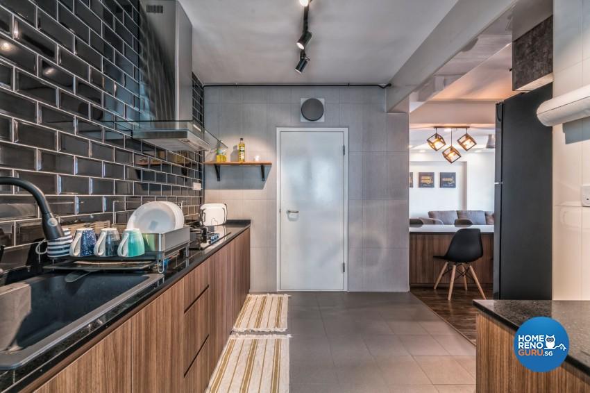 Industrial Design - Kitchen - HDB 3 Room - Design by U-Home Interior Design Pte Ltd