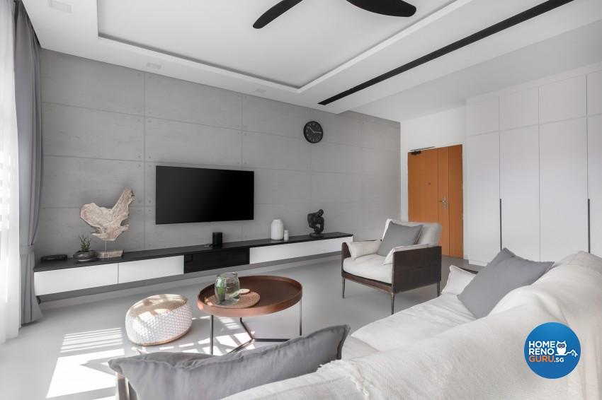 Modern Design - Living Room - HDB 5 Room - Design by U-Home Interior Design Pte Ltd