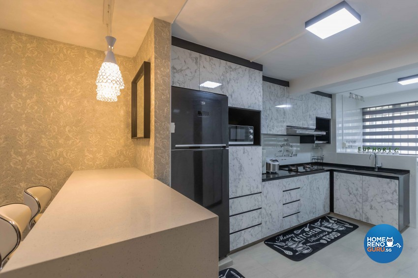 Modern Design - Kitchen - HDB 3 Room - Design by U-Home Interior Design Pte Ltd