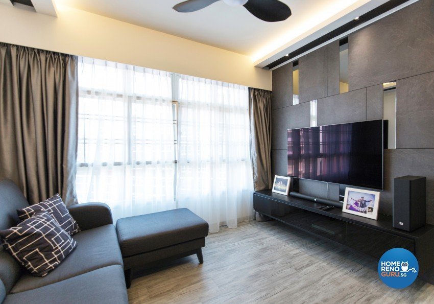 Contemporary Design - Living Room - HDB 4 Room - Design by U-Home Interior Design Pte Ltd